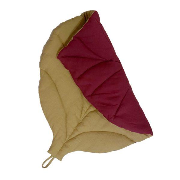 Коврик-листик красно-бежевый
