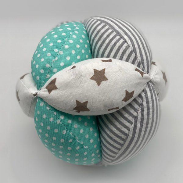 Мячик Такане зеленый с белым и полосками