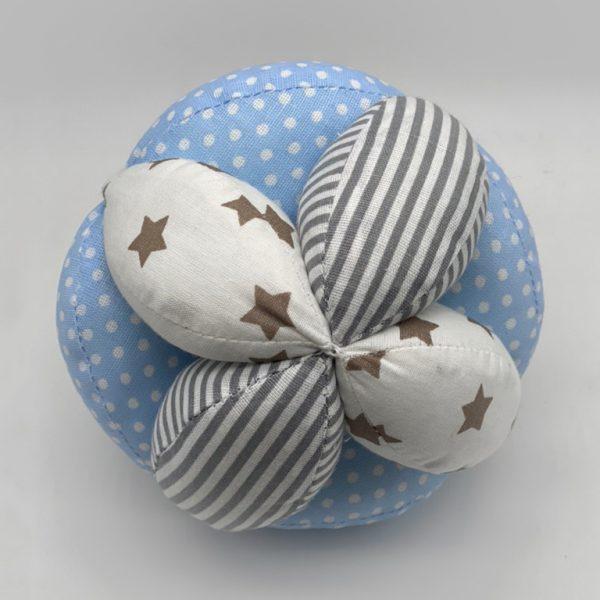 Мячик Такане голубой с горохом и пллосками