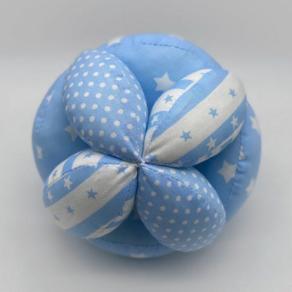 Мячик Такане синий с горохом и полосками