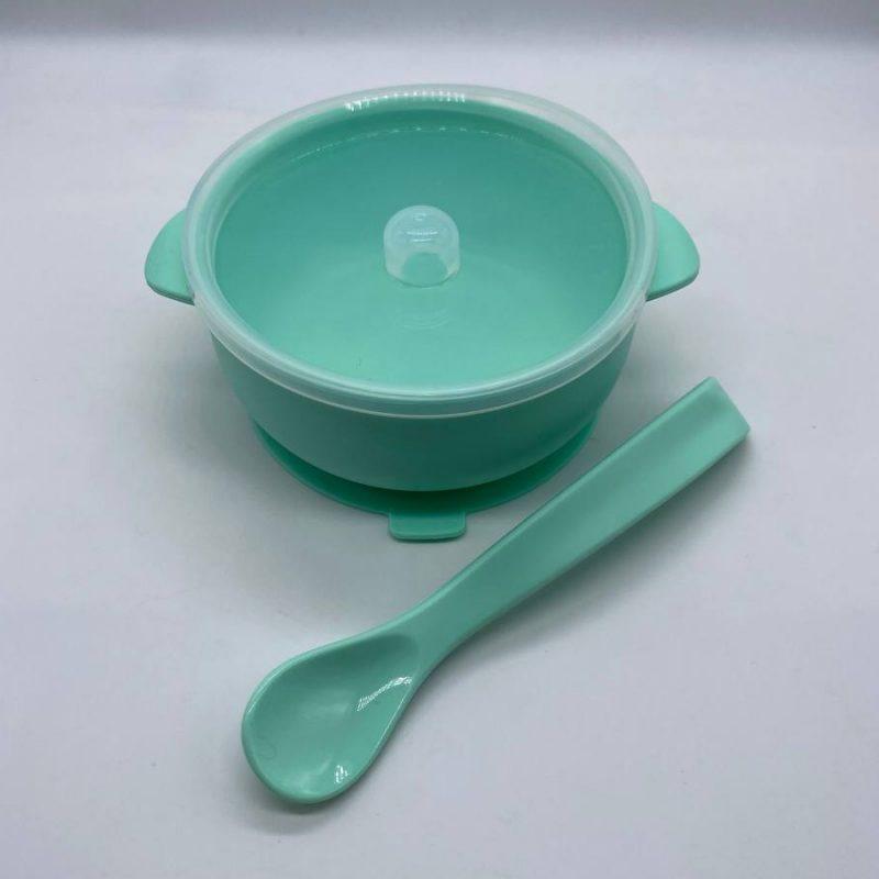 Силиконовая детская тарелка с крышкой и ложкой